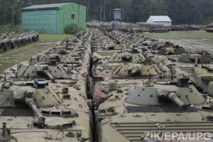 Repairing APC for Ukrainian forces at the armored repair plant near Zhytomir.