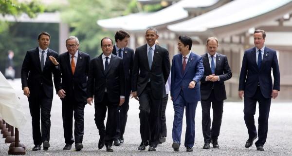 Barack Obama, Francois Hollande, Matteo Renzi, David Cameron, Angela Merkel, Justin Trudeau, Shinzo Abe, Donald Tusk, Jean-Claude Juncker