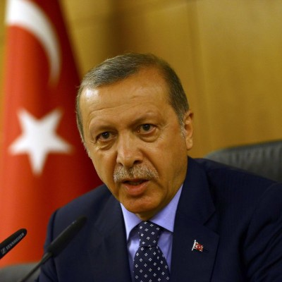 Turkish President Erdogan addresses during an attempted coup in Istanbul